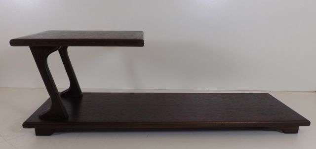"#120 Walnut Stand, #119 Walnut stand, 22.5"" long @ bottom, 8.75"" long @ top, 8"" deep and 18.75"" tall, $275, $225"