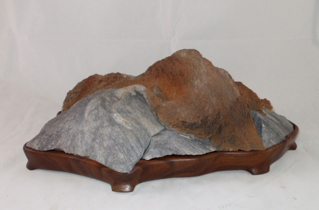 "Large 14"" Long Murphys Stone on Old Walnut Daiza"