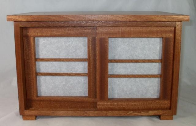 """Shiji Box, 10"""" x 10"""" x 16"""", African Sapele wood, $300"""