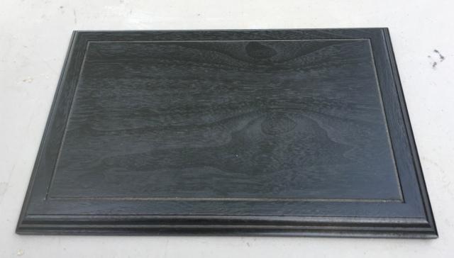 """#2 Platform- 9"""" x 14"""" x 3/4"""" tall, black color, walnut wood  $55"""