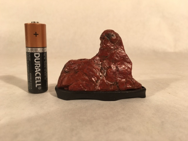 "#1 Red Jasper Mini Mountain- cut stone, 2"" tall, walnut daiza, $50"
