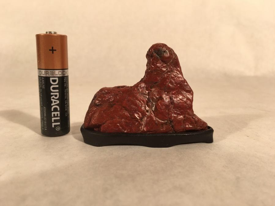 """#1 Red Jasper Mini Mountain- cut stone, 2"""" tall, walnut daiza, $50"""