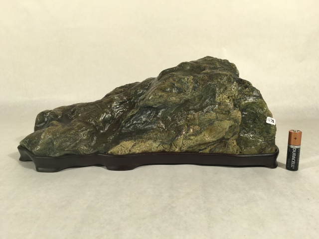"#12 LARGE Mountain Stone- 14"" long x 6"" tall!, gorgeous Eel River stone, cut stone, walnut daiza, $450"