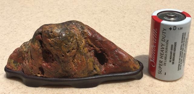 #15 Brilliant Colored Jasper Mountain- cut bottom, my daiza $125