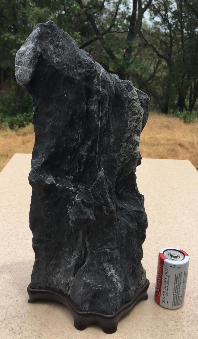 "#4 Tall Black Murphys stone Figure stone- cut bottom, 10"" tall $175"