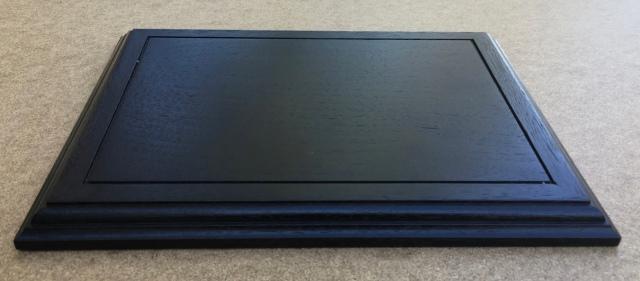 "#7 Black Platform- 8.5"" x 11"" x 3/4"" , walnut wood dyed black, $50"