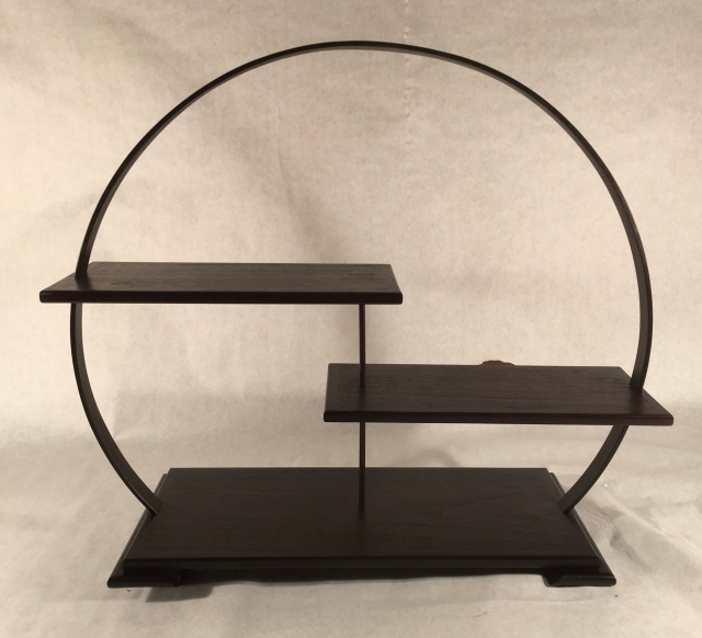 "#129 Display stand- 18"" tall x 6"" deep platforms, $350"