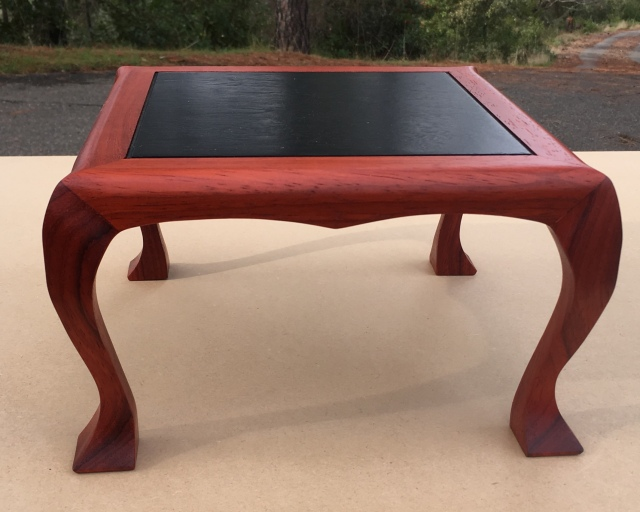 "#123 Paduk wood (African Rosewood) and ebonized walnut (black) Shohin Stand- 9.5"" x 9.5"" x 6"" tall, $300"